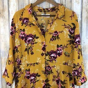 Time & Tru Button Down Floral Maxi Dress